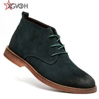 Wholesale- Men Bottes Chaussures Confortable Noir Marron Vert Qualité Mode Ankle Bottes Casual Men Leather Snow Boots