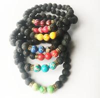 Wholesale Ceramic Rings For Women - Mix 11 Color Bracelets Black Natural 11 Lava Chakra Healing Balance Beads Bracelet for Men Women 8mm Reiki Prayer Stones