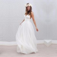 Wholesale Deep V Neck Empire - Sexy Beach Wedding Dress A line Spaghetti Strap Tulle Deep V Bare Back Backless Bridal Gown