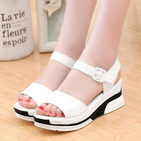 Wholesale Korean Shoes For Women - Women new fashion Platform shoes Korean style casual thick bottom Wedge Sandals with white color for girls