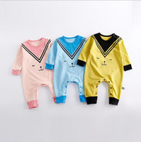 Wholesale Animal Cartoon Romper - INS 3 colors New Arrivals autumn baby kids climbing romper baby kids 100% cotton boy girl cartoon printed long sleeve romper free shipping