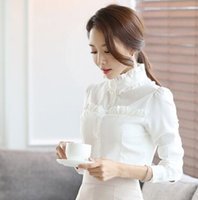 Wholesale Korean Ladies Chiffon Ruffle Blouse - Wholesale New Arrival Fashion Korean Slim Blouses White Shirt Stand-Up Chiffon Slim Lotus Leaf Lace Collar Lady Tide Long-Sleeved Shirt