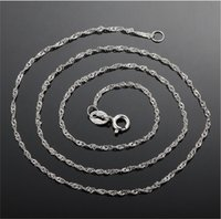 Wholesale Brass Wave - Wholesale Necklaces Plated 925 Sterling Silver Necklaces water wave chain Safety without stimulation fade Necklaces Length 18 inch 1.5 mm