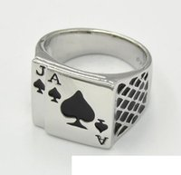 Wholesale chunky engagement rings - Cool Men's Jewelry Chunky 18K White Gold Plated Black Enamel Spades Poker Ring Men Size 7-12 Hotsale