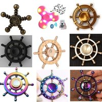 Wholesale pirate led - DIY Pirate Rudder Brass Hand Spinner Tri Fidget Led bluetooth Finger Focus EDC ADHD Autism spinning Top Finger spinners Gyro Anxiety Toys