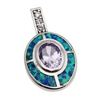 ametist ışıkları toptan satış-925 Ayar Gümüş Kolye Doğal Işık Mor Ametist Hakiki Benzersiz Mavi Opal El Yapımı Solitaire Kadın Takı