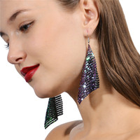 Wholesale Sequins Earrings - Fashion Street Snap Women Earrings Shining Sequins Rhombus Pendant 3 Colors Can Choose Party Jewelry DC57