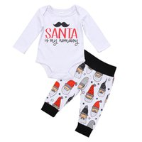 Wholesale Cute Girls Pants Outfits - Christmas Baby Outfits New Infant Clothing Sets Boys Girls Santa Newborn Onesies Pants 2Pcs Set Cotton Toddler Romper Boutique Clothes C1805
