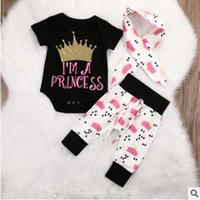 Girl organic baby outfits - 3 Piece I am a Princess Crown Printed Outfits Newborn Girls Romper Pants Headbands Baby Girls Clothes Girls Boutique Clothing Ins Clothes