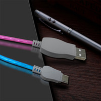 Wholesale Led Lit Sync Cable - 1M Visible Flowing LED Light Up Charging Cable Micro USB type C Charger Data Sync Cable For Smart phones Tablet PC data cable