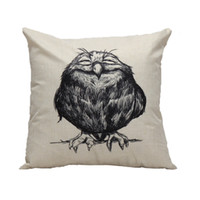 Wholesale Sleep Pillow Case - Wholesale- Pillow Case New sleeping Owl cushion pillow case cover vintage black birds pillow slip retro square 45*45cm drop shipping