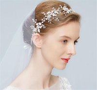 Vintage Wedding Bridal Crystal Headband Ribbon Rhinestone Hair Band Acessórios Crown Tiara Headpiece Beads Flower Headdress Atacado Barato