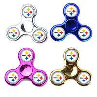 Wholesale Cub Logos - Fidget Spinners Chrome Broncos Chicago CUBS Logo Warriors Baseball Team Hand Spinner ABS and Metal Color Decompression Finger Toy PVC Box