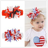 Wholesale 4th July Wholesale - baby Girls US Independence Day Bow Headbands Kids Elastic Wide Grosgrain Ribbon Flower hairbands 4th of July Hair Accessories KHA490