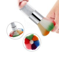 Wholesale Nail Art Dust Remover - Colorful Nail Dust Brushes Acrylic UV Nail Gel Powder Nail Art Dust Remover Brush Cleaner Rhinestones Makeup Foundation Tool ZA2407