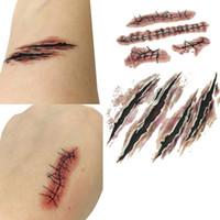 Wholesale Temporary Realistic Tattoos - Wholesale-10 sets New 2016 Waterproof Temporary Tattoo Sticker Halloween Terror Wound Realistic Blood Injury Scar Fake Tattoo Sticker