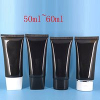 Wholesale Plastic Tubes For Cosmetics Packaging - 50ml - 60ml Black Cream Soft Tube For Cosmetics Packaging 2OZ Lotion CC Cream Plastic Bottles Skin Care Cream Containers Tube