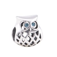 Wholesale Chamilia Bracelet 925 Silver - Wholesale- Hollow OWL Vintage Charm Genuine 925 Sterling Silver Bead Women DIY Jewelry Fits Chamilia Style Charms Bracelet DIY Jewelry