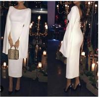 Wholesale unique caps - 2017 Unique Design Saudi Arabia White Satin Evening Dresses with Cape Tea Length Formal Evening Gown Vestidos De Formatura Longo