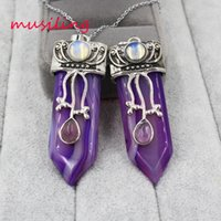 Wholesale Purple Amulet Necklace - musiling Jewelry Sword Pendants Natural Stone Reiki Pendulum Stripe Purple Agate Europe and America Charms Amulet Accessories Mens Jewelry