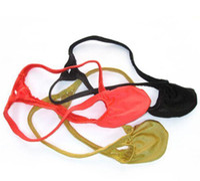 bultos spandex al por mayor-Al por mayor-nuevo Mens nuevo estilo de moda Thong Bulge bolsa T-back Shiny Stripes Knit Nylon Spandex elástico suave