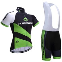 Wholesale Merida Cycling Suit - 2017 Merida bike wear 3D gel pad bibs shorts Ropa Ciclismo quick dry team Big Green cycling jersey mens summer bicycle Maillot Suit