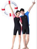 Wholesale Wetsuit Shorts L - Men Women Surf Clothing One Piece Anti-UV Sunscreen Short-sleeve Diving Wetsuit Snorkeling Swimsuit Swimwear Summer Beach Suit Front Zip