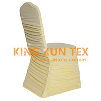 Wholesale Spandex Ruffle Chair Covers - 50pcs Sold Ruffled Pleated Lycra Spandex Chair Cover Factory Wholesale Price For Wedding Decoration Free Shipping