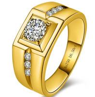 24k gold diamant ringe groihandel-Hochwertiger Auto-Diamant 24K Gold überzogener Ring mit herrschendem Tyrant des Mannes Super glänzender synthetischer Diamant-Mann-Ring