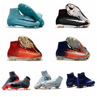 Wholesale Cheap Leather Ankle Boots - 2017 mercurial superfly V FG original soccer shoes cheap football boots cr7 soccer cleats ankle high cr7 Champions Time to Shine ronaldo new