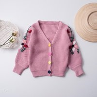 Wholesale Kids Girls Cardigan Coat Baby Girls Floral Embroidery Sweaters Infant Princess Knitted Jacket Outwear Autumn Children Clothing B639