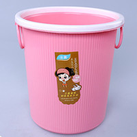 Wholesale Storage Paper Baskets - 28cm Plastic Trash Basket Ring Handle No Cover Home Supplies With Variety of Colors Plastic Basket Storage Waste Paper Barrel