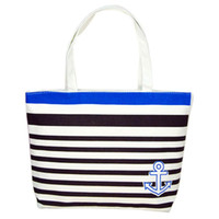 Wholesale Folding Anchor - Wholesale- New Arrivals Women's Casual Tote Canvas Blue Anchor Pattern Shopping Shoulder Bags Women Handbag Beach Dec19