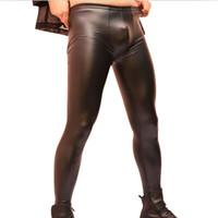 Wholesale Leather Tights Leggings Zipper - Wholesale- Men Sexy Slim Fit Trousers Leggings Tight Pants Skinny Black Casual Elastic