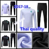 Wholesale Long Black Sweaters - tracksuit 17 18 sweater suit 2017 2018 real madrid trainning sweater top set jacket long pants home white away black RONALDO