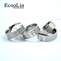 Wholesale side crosses for jewelry for sale - Group buy Fashion JESUS LOVE YOU Stainless Steel Cross Faith Anglicans Christian Prayer Ring Letter Bible For Men Jewelry Never Fade LB4003