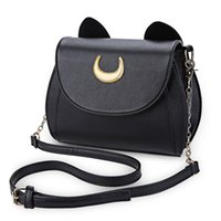 Summer Sailor Moon Ladies Handbag Black Luna Cat Shape Chain Bag Hombro PU Leather Messenger Bags Mujeres Crossbody Small Bag Purse