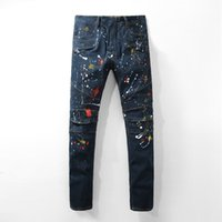 Wholesale Slim Fit Trousers For Men - New Arrival High Quality Men's fashion dark blue painted biker jeans for moto Casual slim fit stretch denim pants Long trousers