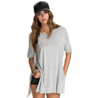 Wholesale Side Steps - 2017 Summer Fashion Solid Side Split Tops New Casual Loose Tees Stepped Hem Long Basic Women T-shirt