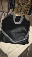 Wholesale HOT Top quality falabella st Classical Black fold over CM MID Three Chain Shaggy Deer PVC casual Tote