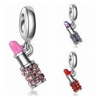 Wholesale Lipstick Charm Necklace - Wholesale 20pcs   lot Fashion Silver Plated Rhinestone Lipstick Design Dangle DIY Charms fit European Bracelet & Necklace Low Price