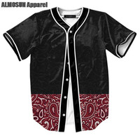 Wholesale Retro Hip Hop Clothing - ALMOSUN Floral Retro Pattern Jersey All Over Print Baseball T-Shirt Street Hip Hop Summer Tops Men Women Clothing