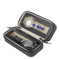 caja de reloj deportivo al por mayor-Zippered Luxury Storage Case Organizador Cuero sintético 2 Ranuras Reloj Caja Caja Cartera Diseño Almacenamiento Relojes Travel Box Sport Easy