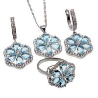 Wholesale Earring London - Jewelry Sets 925 Sterling Silver Beautiful Flower London Blue Topaz Necklace Earrings Ring Size 9 Best Quality Free Shipping