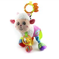 Wholesale baby doll sheep - Wholesale- 0+ Baby Toy Soft sheep Plush Doll Baby Rattle Ring Bell Crib Bed Hanging Animal Toy Teether Multifunction Doll Kids Toy