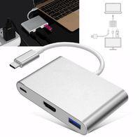 usb otg hdmi al por mayor-USB3.1 Tipo-C a 4K HDMI USB-C Adaptador multipuerto AV digital 4K OTG USB 3.0 HUB Cargador para Macbook 12