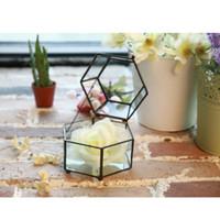 Wholesale metal planter boxes - Six sides metal glass box flower pot planters metal glass pots desktop decoration Geometric vases art decor HWD58