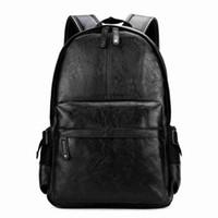 adrette rucksäcke für das college großhandel-Berühmte Marke Adrette Leder Schule Rucksack Tasche Für College Einfache Design Männer Casual Daypacks mochila männlich Neu