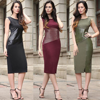 Wholesale Leather Splice Skirts - 2017 the European and American wind splicing imitation leather crashed color pencil skirt sleeveless dress fashion women's clothing of culti