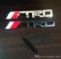Wholesale Trd Sports Emblem - Car Styling Sport Accessories Hood Grille Grill Badge With TRD Logo Emblem Brands Marks Black Silver Color